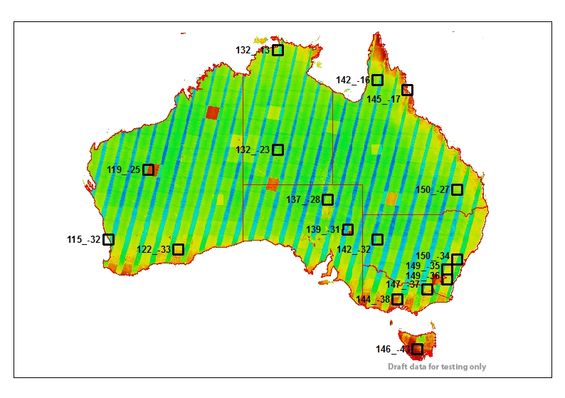 Map of sample areas across Australia overlaying frequency of satellite observations